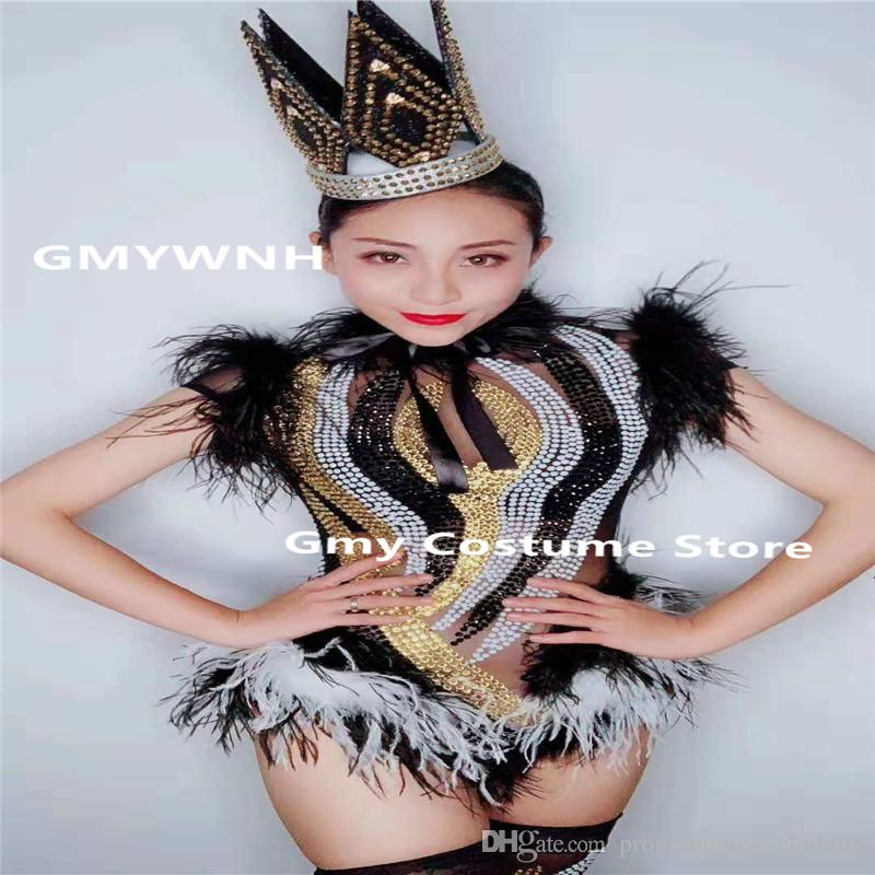 2019 E87 Sexy Singer Stage Bodysuit Bar Wears Jumpsuit Tight Outfits Party Feather  Rhinestone Dress Dj Pole Dance Costumes Prom Show Party Event From ... fec16e9b99bd