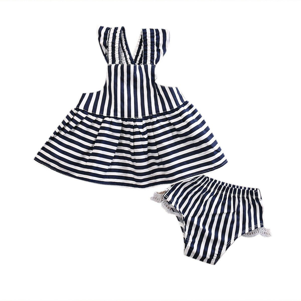 1b984ebd8296f 2019 Baby Girls Clothes Summer Sleeveless Striped Cloth Set Sunsuit Infant  Outfit Stripe Backless Dress Kids Briefs Clothes Sets From Wangxiaofeng806,  ...