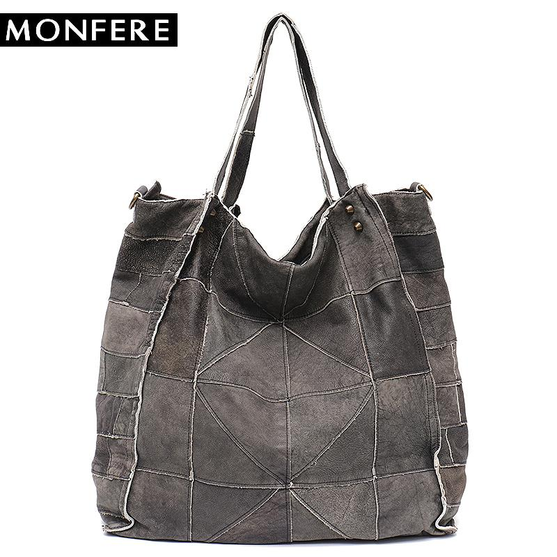 2019 Fashion MONFERE Vintage Leather Women Big Tote Bags Real Leather  Messenger Shoulder Bags Female Large Quilted Woman Bag Genuine Leather  Cheap Designer ... 288b347cc6907