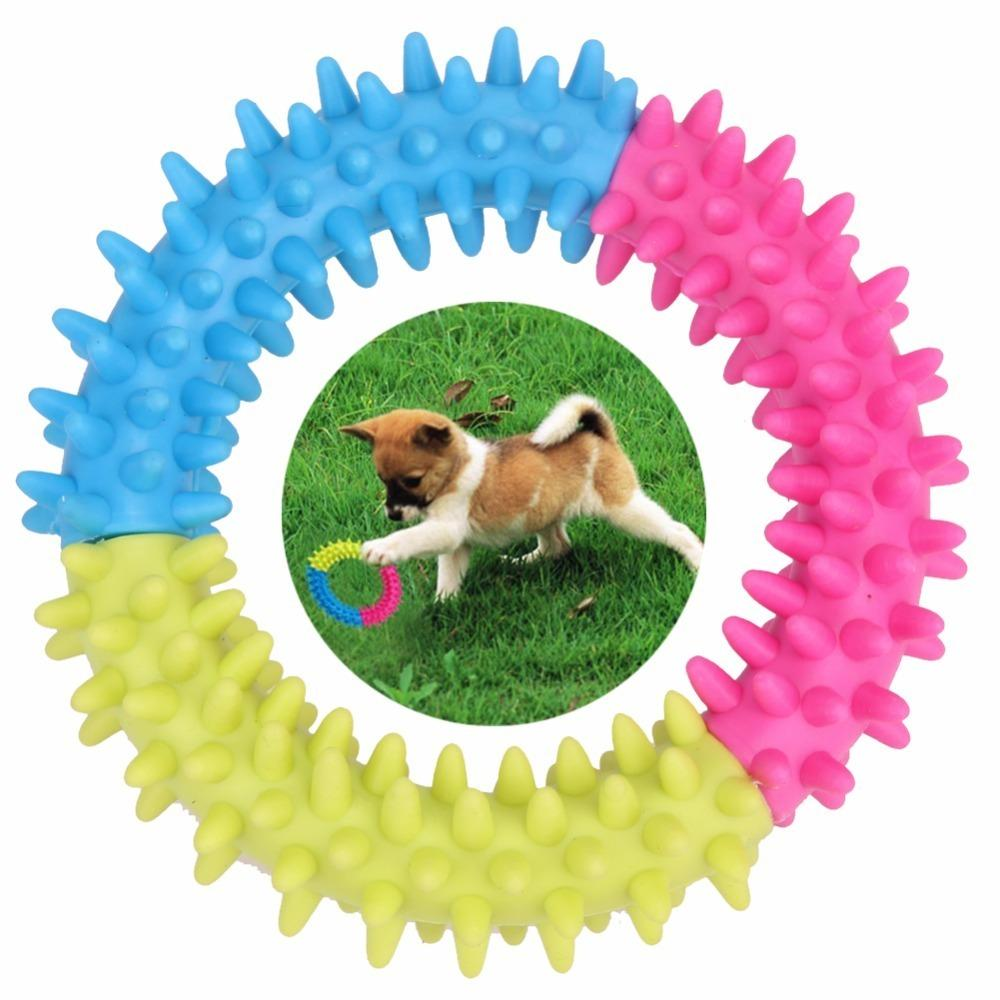 Colorful Dog's Toys Pet Traning Products Resistance To Bite Embossment Spinose Ring Tpr Rubber Toys For Dogs Supplies