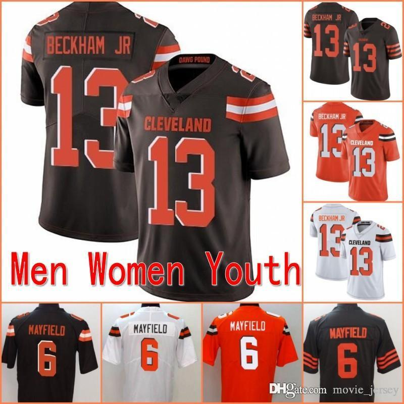 buy popular a5b0a 729e3 Cheap 2019 New 13 Odell Beckham Jr Cleveland Jersey 6 Baker Mayfield Browns  Football White Orange Kids Stitched Men Women Youth Stitched