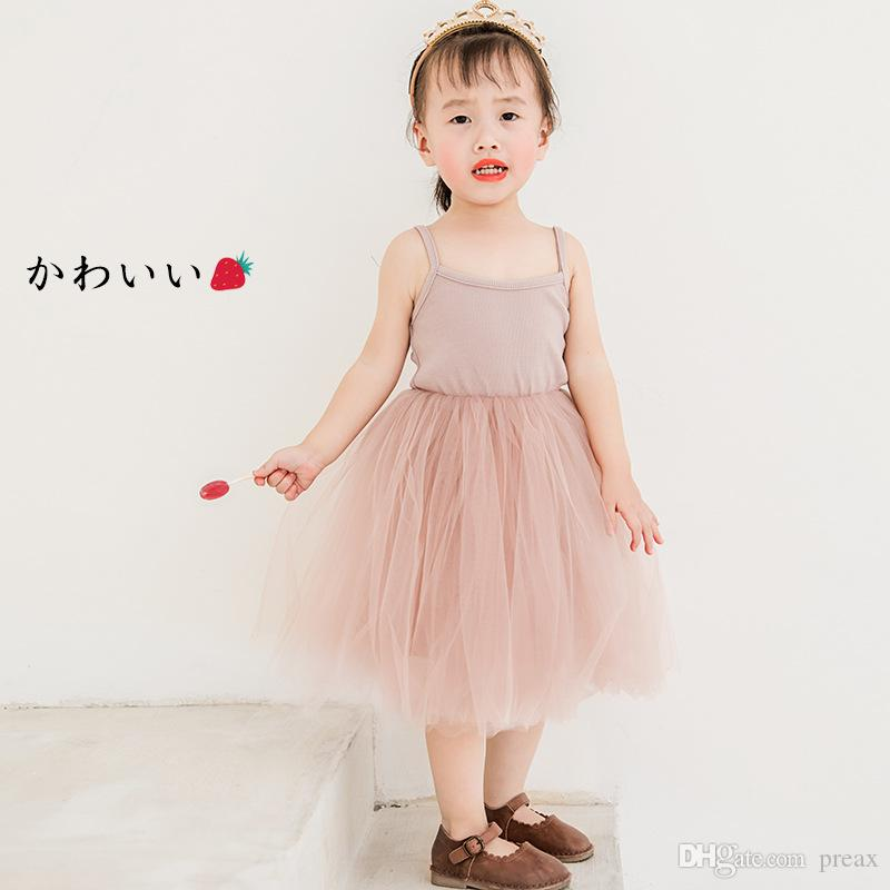 Fashion Summer Kids Dresses For Girls Baby Girls Princess Toddler Tulle Lace Tutu Slip Dress Children's Costume Wholesale Price 2019 New
