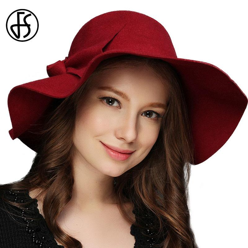 d85b6e5b189 FS Winter Caps 100% Wool Felt Vintage Hats For Women Fashion Wide Brim  Bowler Fedora Hat Lady Cloche Fedoras Church Cap D19011102 Trucker Hats  Boonie Hat ...