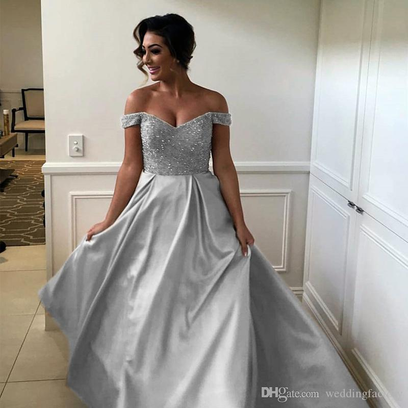 edd51248bfcf Modern Long Prom Dresses Off The Shoulder Silver Formal Dress Sparkly  Beaded Sequins Top Floor Length Evening Party Gowns Custom Made Summer Prom  Dresses ...