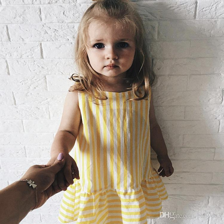 c5ce164a231 Explosive dress yellow striped A-line skirt girls baby cotton long skirt 19  European and American children s clothing summer