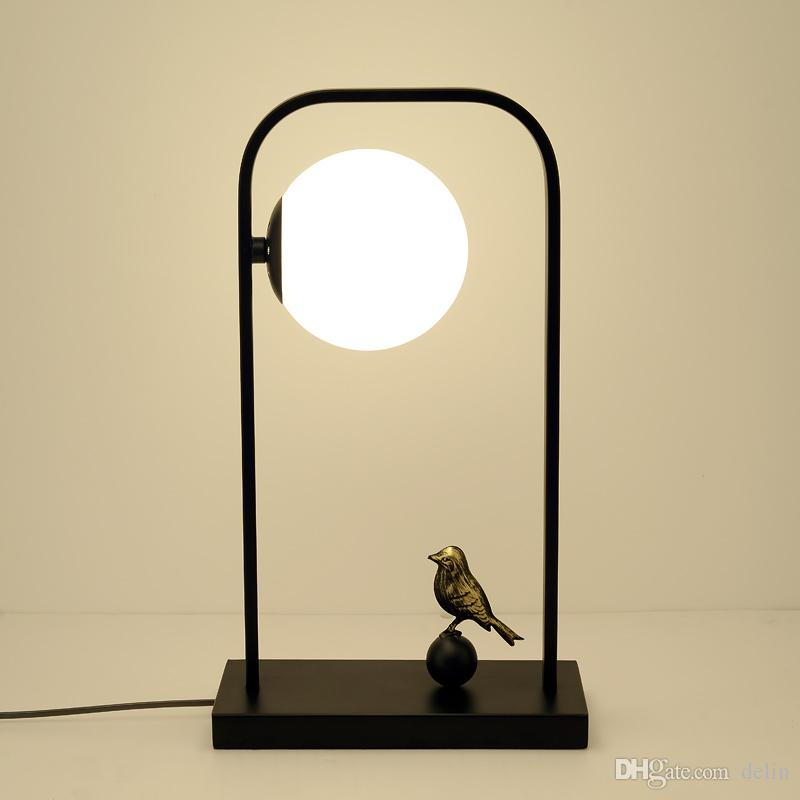 Bedside table lamp home bedroom modern minimalist Chinese style wrought iron study hotel glass table lamp Black E27