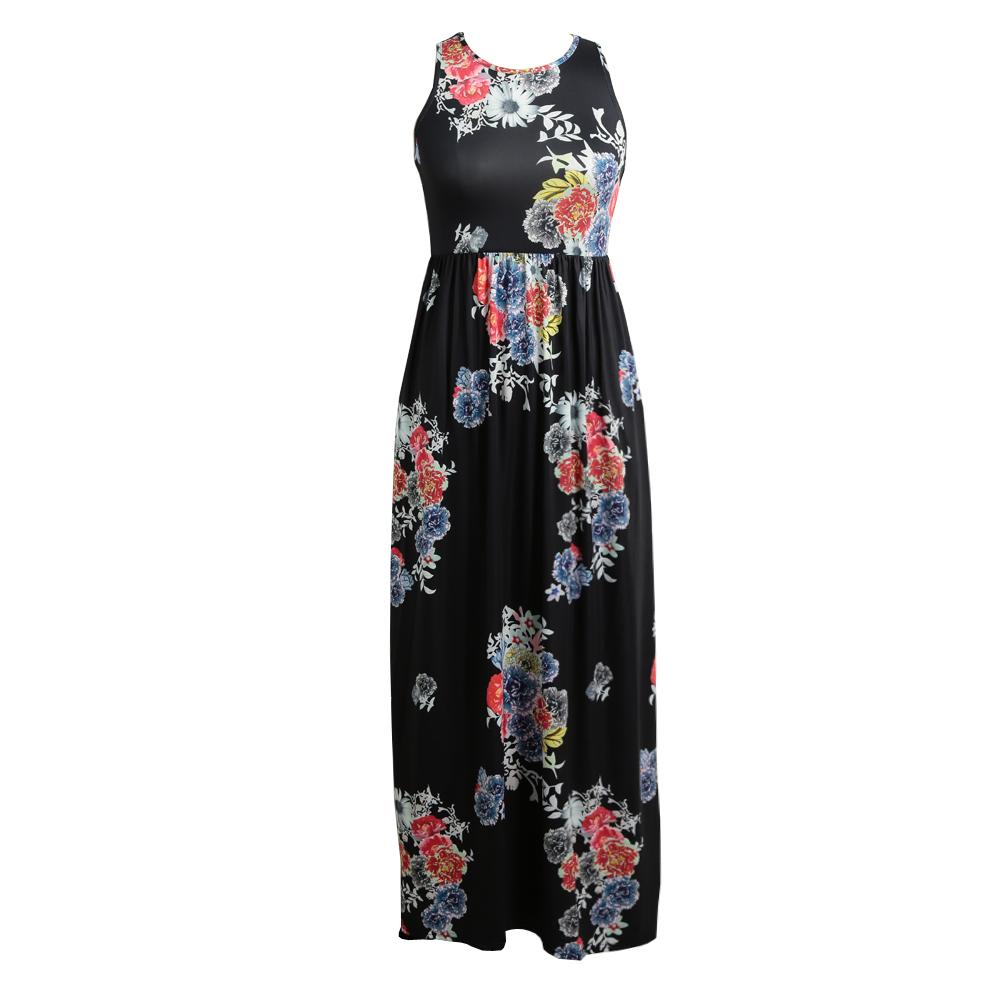 fef2009667b42 XXL Maxi Long Dress Women 2019 Sexy Floral Print Casual Dress Sleeveless  Racerback Vintage Beach Tunic Sundress Female Summer Floral Dresses Womens  Black ...