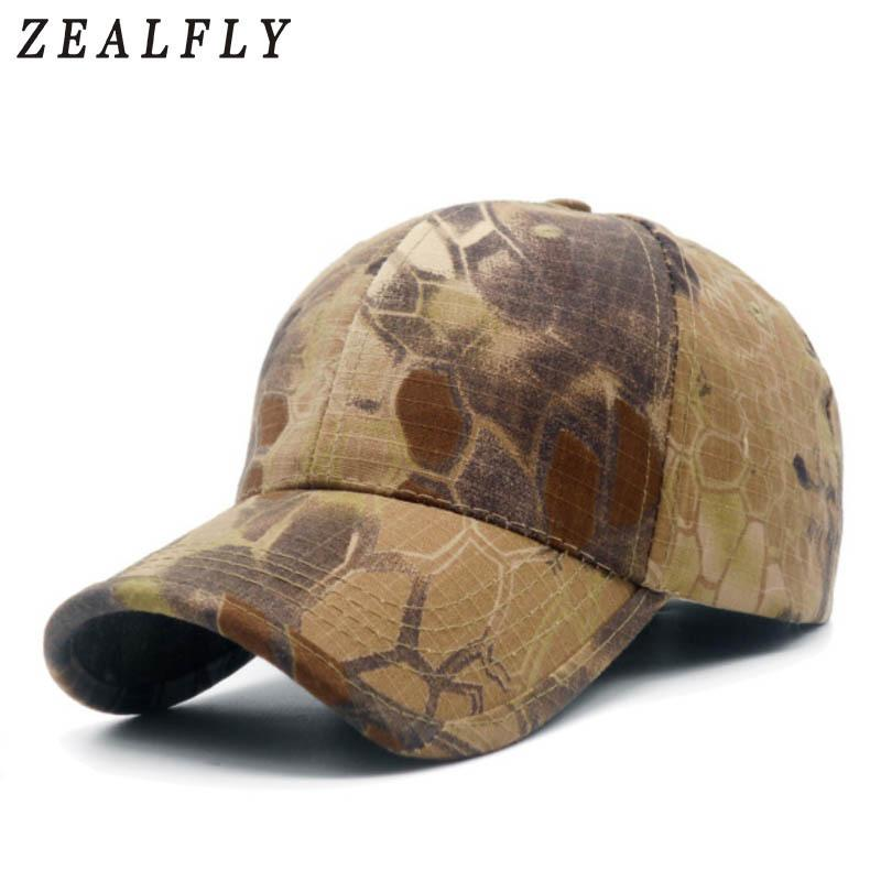 fecf0fcac Men Camouflage Hunting Army Baseball Caps Python Pattern Tactical Fishing  Cap Adjustable Snapback Hats For Women Y19052004