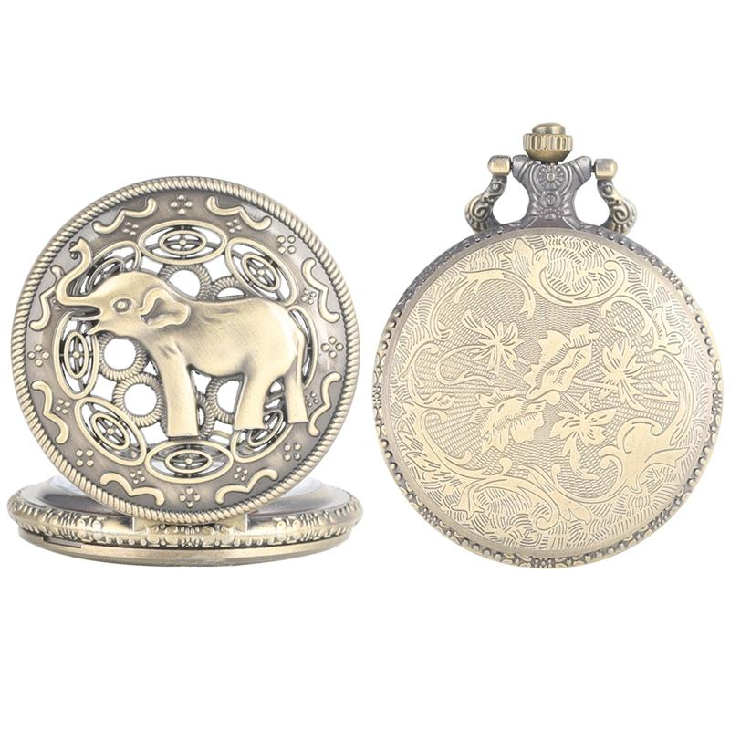 Vintage Bronze Quartz Pocket Watch for Male Retro Large White Dial Pocket Watches Unique Hollow-out Elephant Pattern Pendant Watch for Men