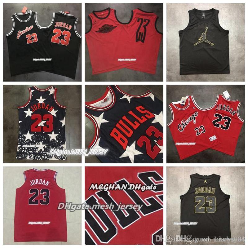 wholesale dealer cf29f 7a35b New Basketball Jerseys Bulls Mitchell & Ness 23 Michael MJ All Star Retro  AU Mesh Fabric Jerseys - Black Red