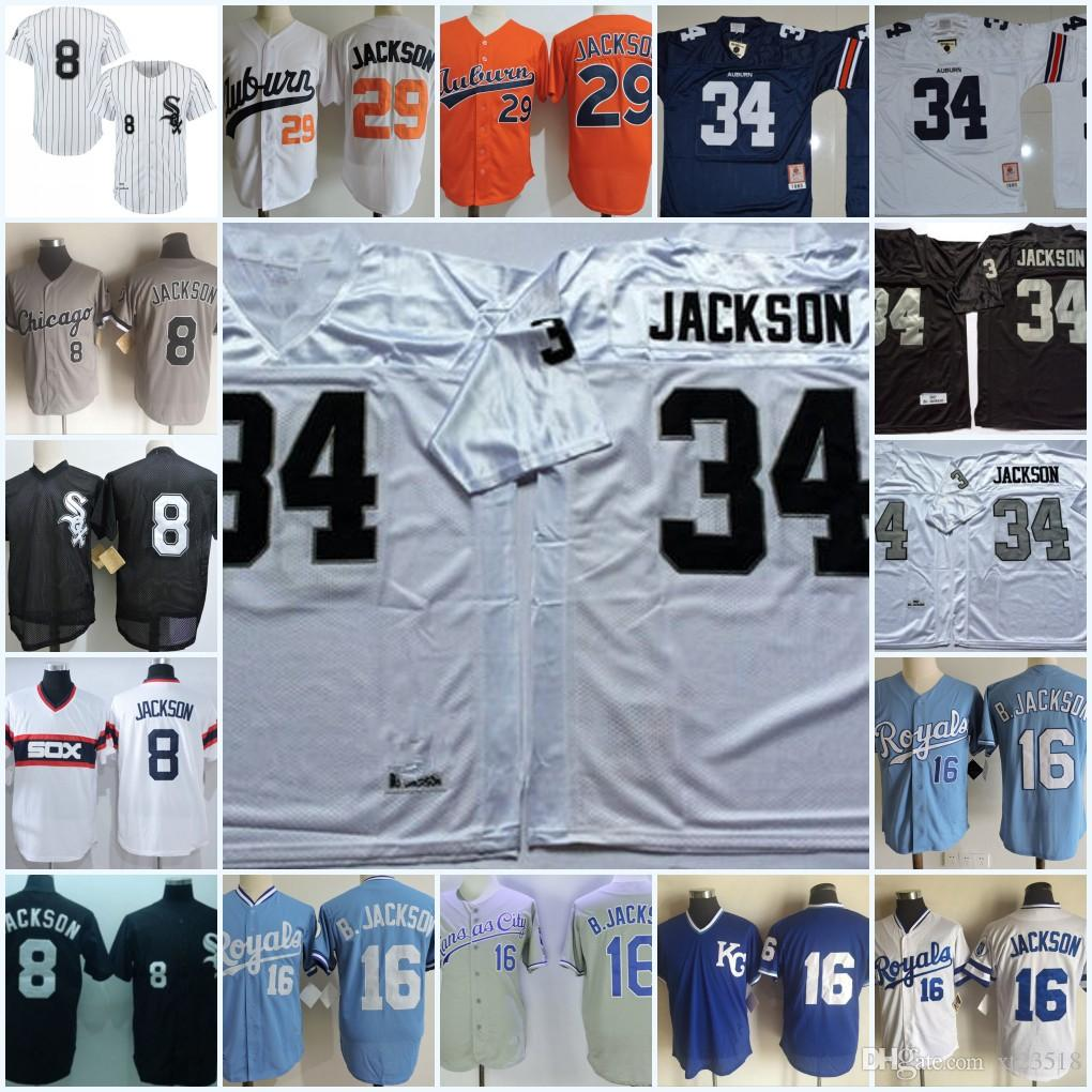 new products e4a82 05db7 Mens 1980s #29 #34 Bo Jackson Auburn Jersey #34 Bo Jackson Oakland Football  Jersey Stitched #16 #8 Bo Jackson Chicago Jersey S-3XL