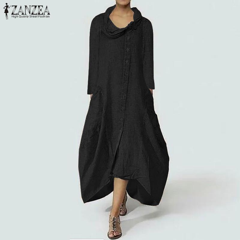 180940e4f68 Acheter 2018 ZANZEA Femmes Maxi Robe Longue Col Roulé À Manches Longues  Poches Robes Irrégulière Ourlet Robe Kaftan Solide Robe Femme Plus La Taille  De ...