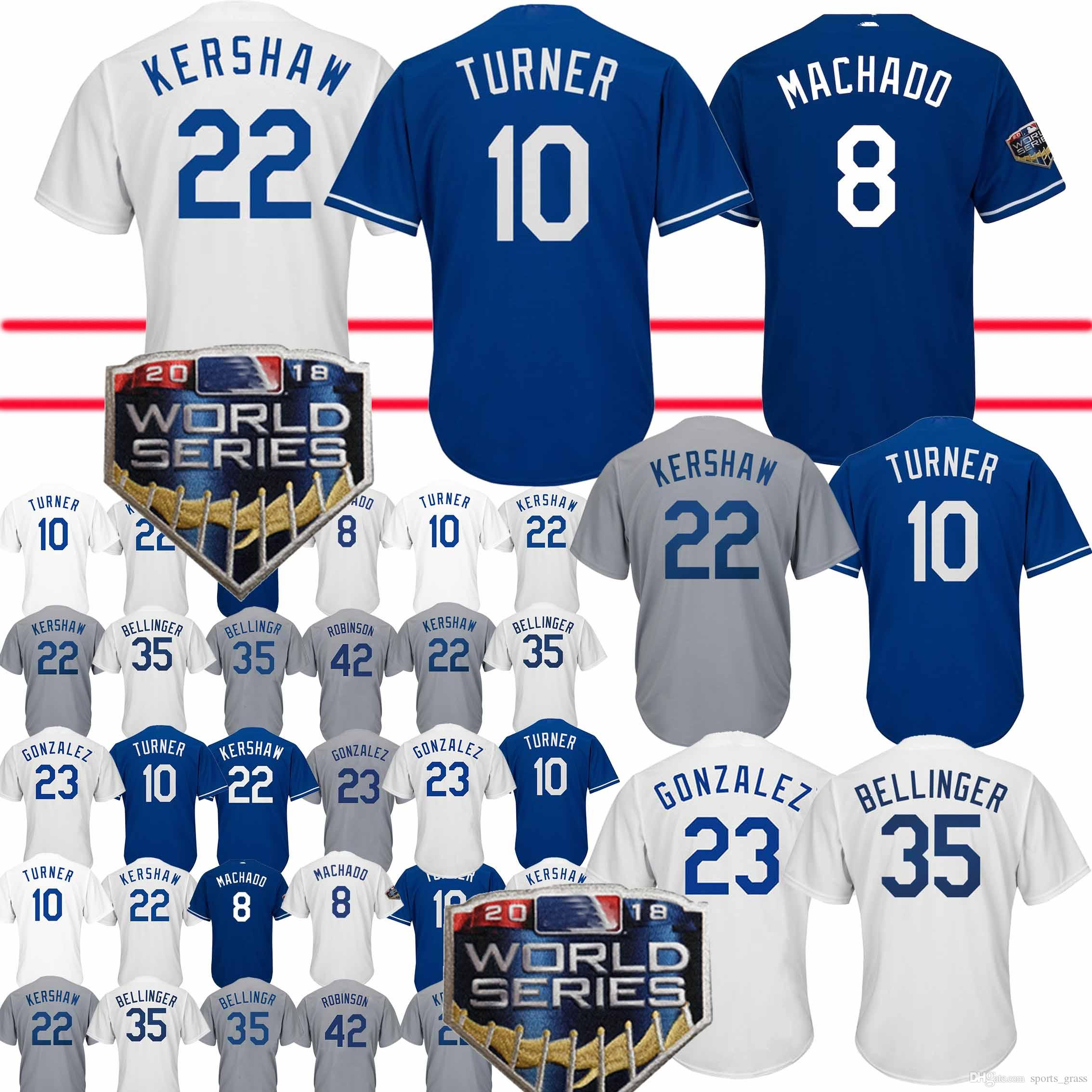 2019 8 Manny Machado Jerseys Los Angeles Dodgers 22 Clayton Kershaw 5 Corey  Seager 23 Adrian Gonzalez 10 Justin Turner Jersey Adult Shirt From  Sports grass 76a7ff794d8