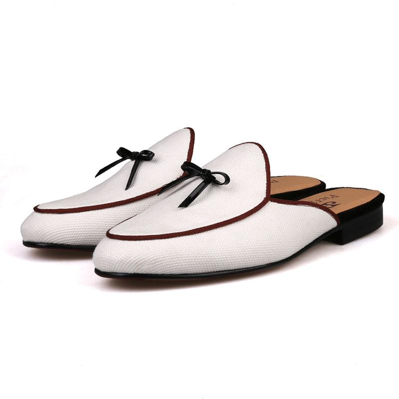 42a3560460c 2019 New Mens Summer High Fashion White Canvas Trend Slippers Man ...