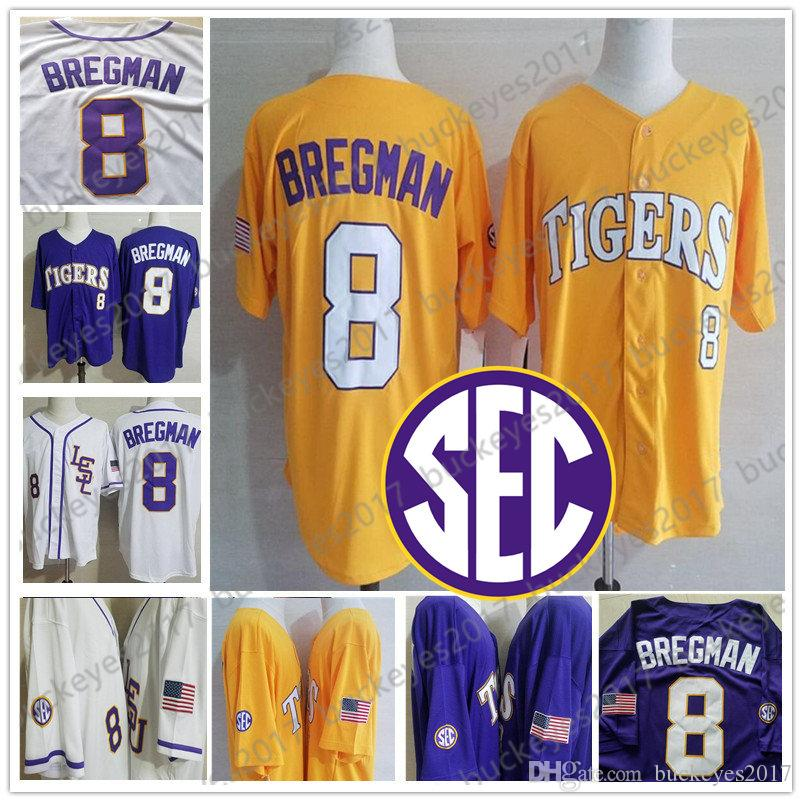 newest 53087 30028 NCAA LSU Tigers #8 Alex Bregman #2 Vintage Houston College Baseball Purple  Gold White Yellow Men Youth Kid Women Stitched Jersey S-4XL
