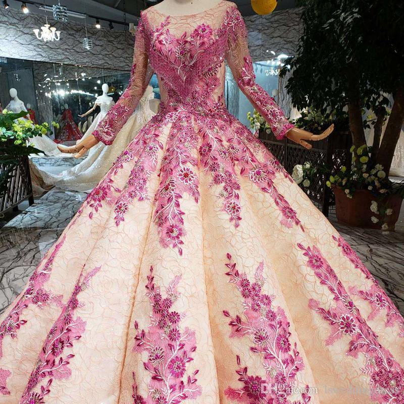 b368b3636f8fb 2019 New Design Pink Muslim Prom Dress Long Tulle Sleeve Chest Heart Shaped  Crystal Tassel Evening Dress Detail Hand Work Flowers Prom Gowns