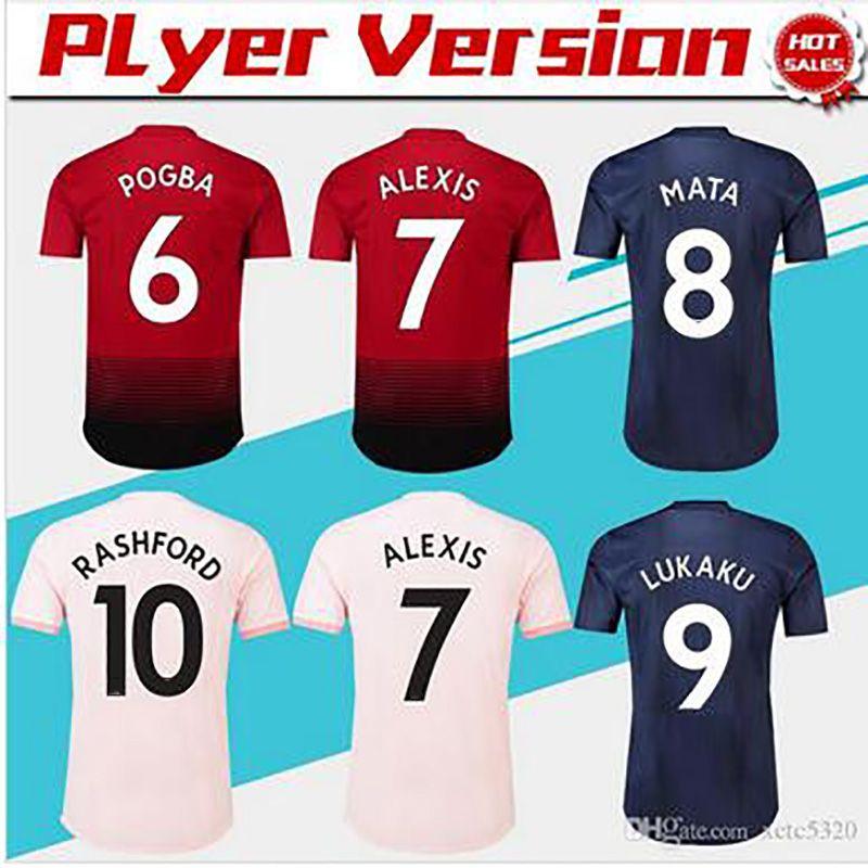 brand new f9d88 a3383 Player version #10 RASHFORD Home Soccer Jersey 18/19 #6 POGBA Away Soccer  Shirt 2019 #7 ALEXIS #9 LUKAKU 3rd Football Uniform Sales