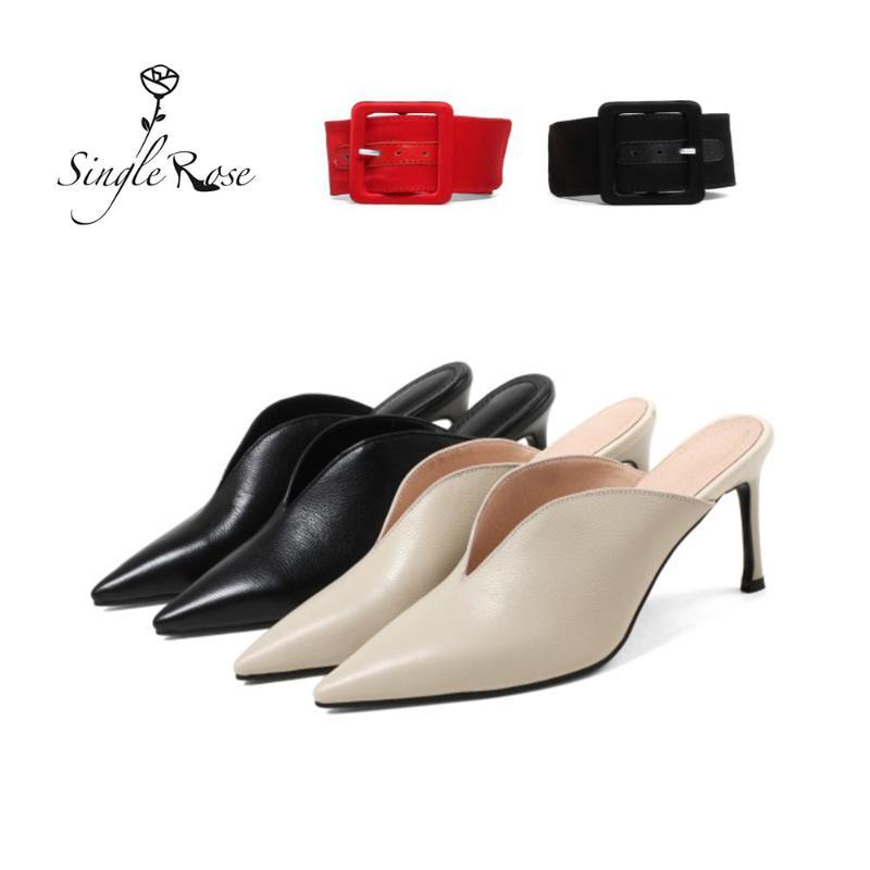 Thin High Heels Leather shoes Ankle strap Pointed Toe Women Slipper Spring Summer Brand Ladies Mules Shoes slip on Pumps T06