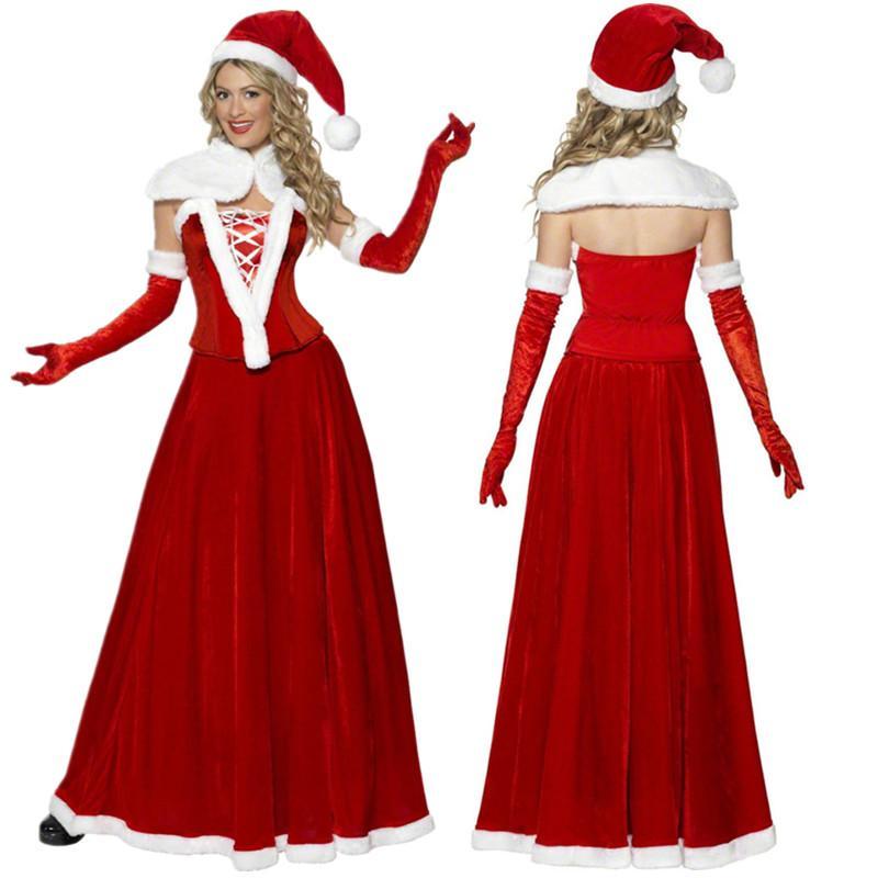 Set Longue Fête Noël Costume Robe Rouge 5pcs Vacances Père Velours Adulte Femmes De P80Okwn