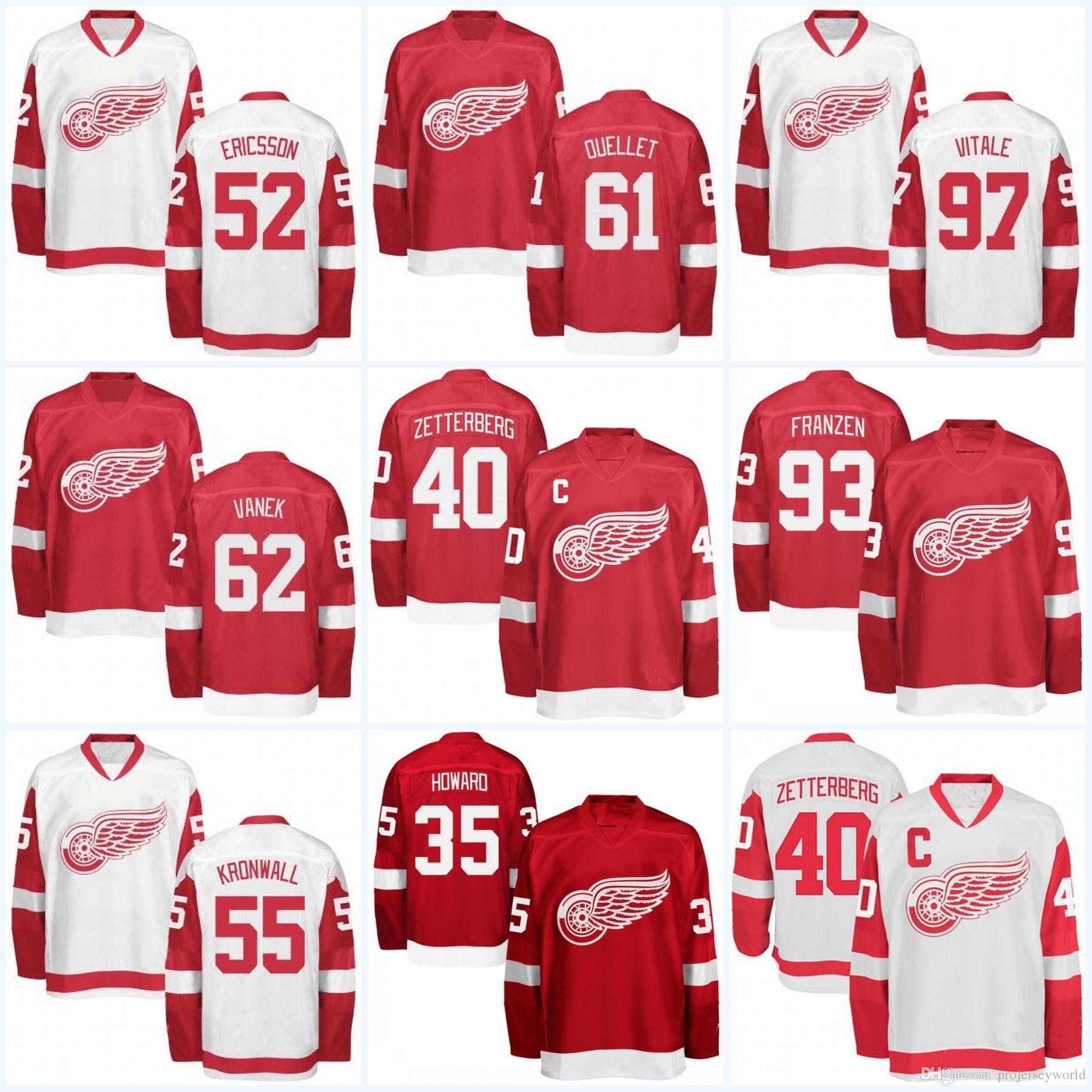 check out 90357 3bc02 Mens Detroit Red Wings Jersey 35 Jimmy Howard 41 Luke Glendening 43 Darren  Helm 47 Alexei Marchenko 51 Frans Nielsen Hockey Jerseys
