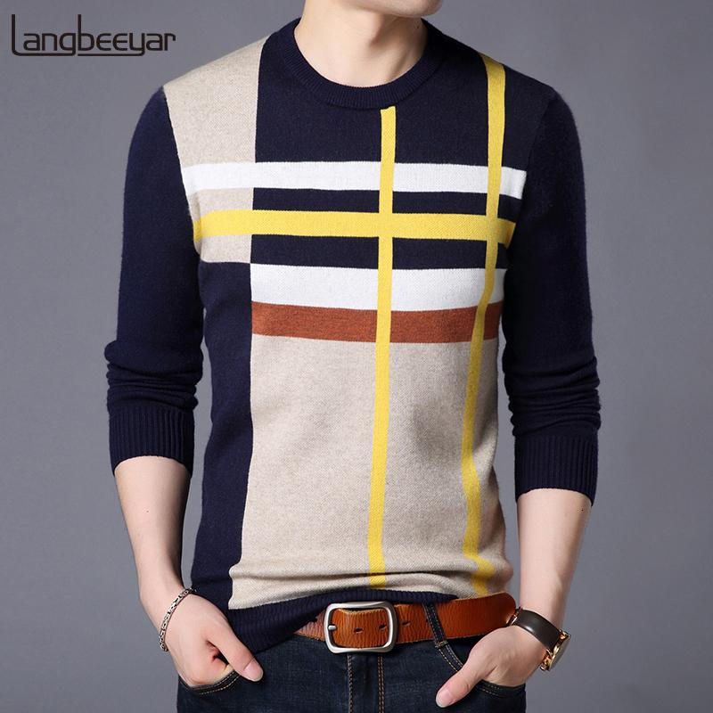 2019 New Fashion Brand Sweater For Mens Pullover O-Neck Slim Fit Jumpers Knitred Woolen Winter Korean Style Casual Mens Clothes MX191214
