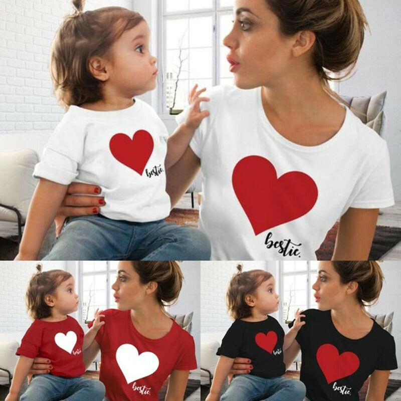 dcbabf70d12a6 Summer Family Clothes Mother And Daughter Matching Outfits Heart Printed T  Shirt Women Girl Cotton Short Sleeve Casual Tops Matching Colors For Family  ...