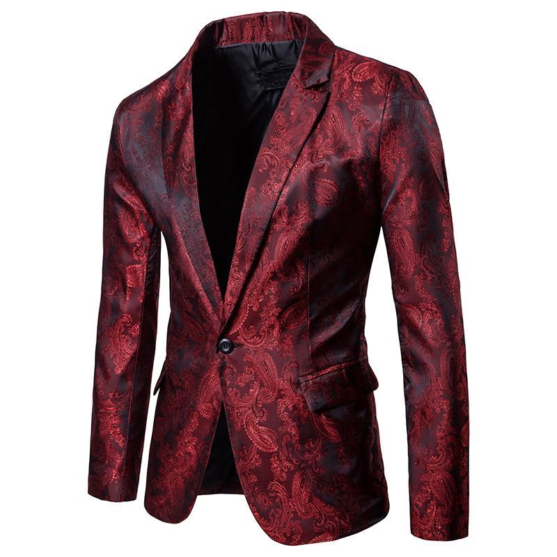Acquista Giacca Da Cerimonia Uomo Rossa Floreale Giacca Da Lavoro Giacca  Sportiva Slim Fit A Un Bottone Uomo Festa DJ Blazer Costume Di Scena A   52.99 Dal ... 09b396cfc03