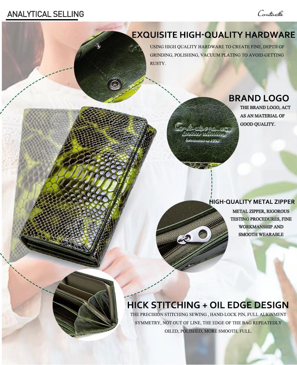 Fashion Serpentine Design Female Coin Purse Genuine Leather Long Women Wallet Phone Purses For Girl Cardholder Clutch Money Bag