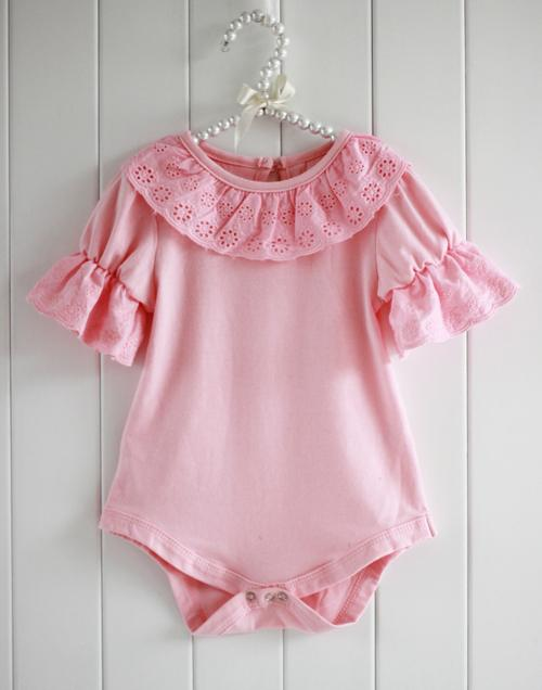 Summer Breathable Cute Lacework Kid Baby Jumpsuit Bubble Sleeve Ruffled Lace Collar Bodysuit