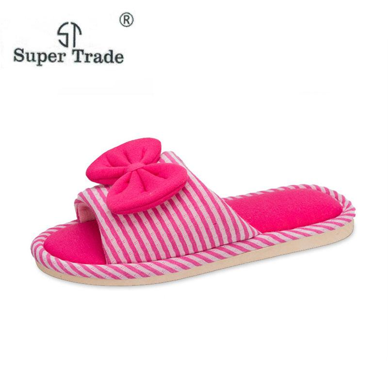 6d4b7b9a6 Women Flip Flop Home Slippers Cute Butterfly Knot Stripe Flats Shoes Winter Ladies  Cotton Indoor Slippers Rubber Boots Womens Slippers From Juiccy