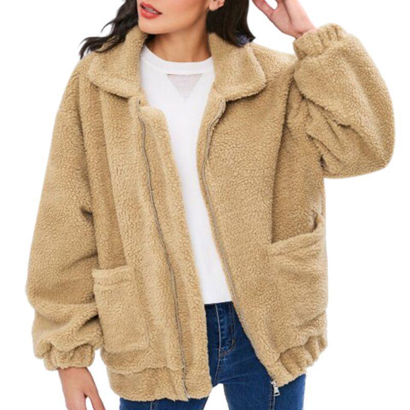 Compre Casual Faux Fur Coat Mujeres Otoño Cálido Suave Cremallera Chaqueta  De Piel Mujer Abrigo De Felpa Con Bolsillo Prendas De Vestir Exteriores A   42.86 ... 83916b64a76c