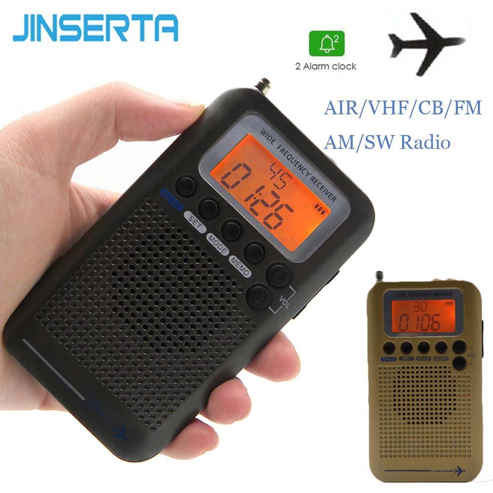 JINSERTA Mini VHF Radio Portable Aircraft FM AM SW FullBand Radio VHF CB  30-223MHZ 25-28MHZ Air 118-138MHZ with Dual Alarm Clock