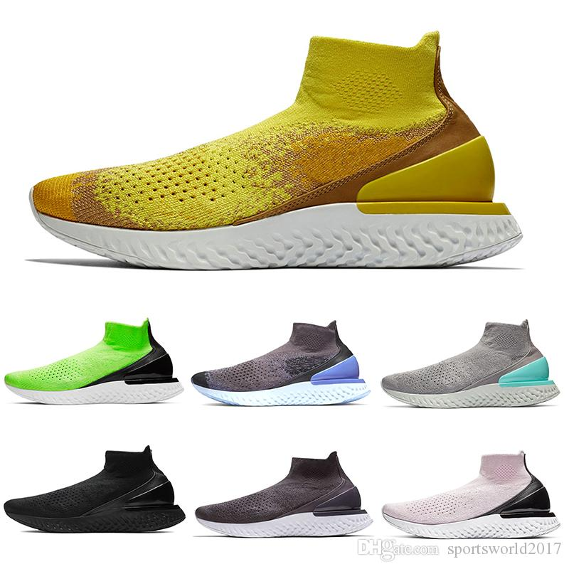 nike rise react flyknit chaussures de designer zapatos speed trainer triple black Lime Blast fashion casual hombres mujeres corriendo calcetines zapatillas de deporte 36-45
