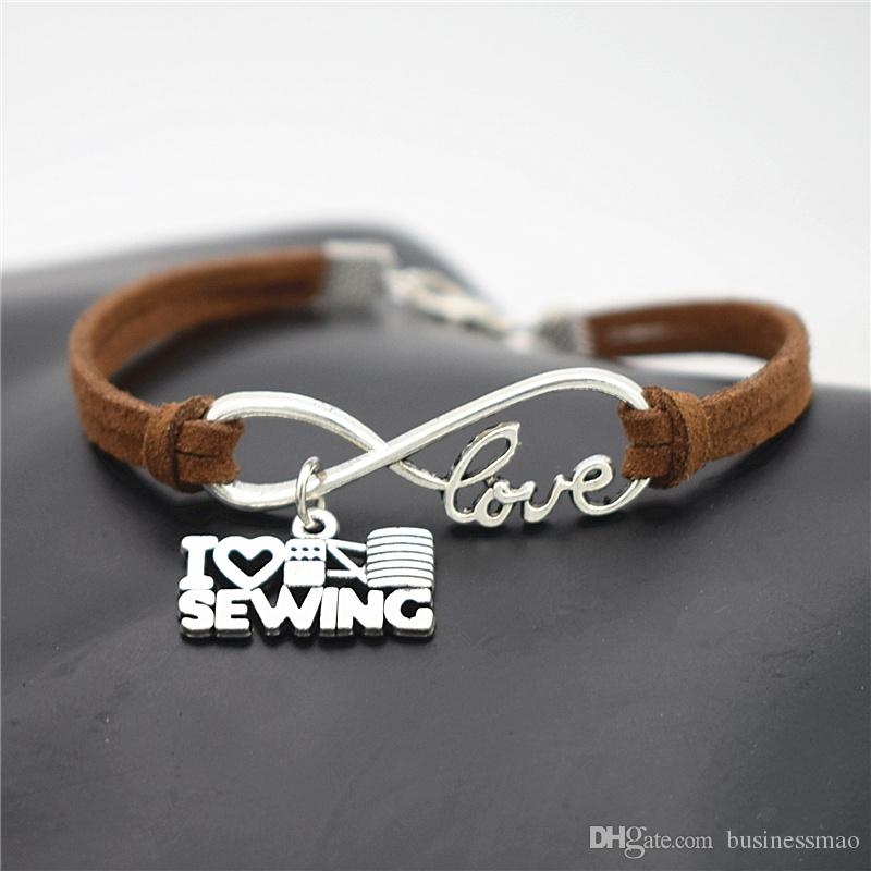 New Top Fashion Elegant Infinity Love I Heart Sewing Machine Pendant Charm Bangles Bracelets Dark Brown Leather Suede Rope Cuff Jewelry Gift