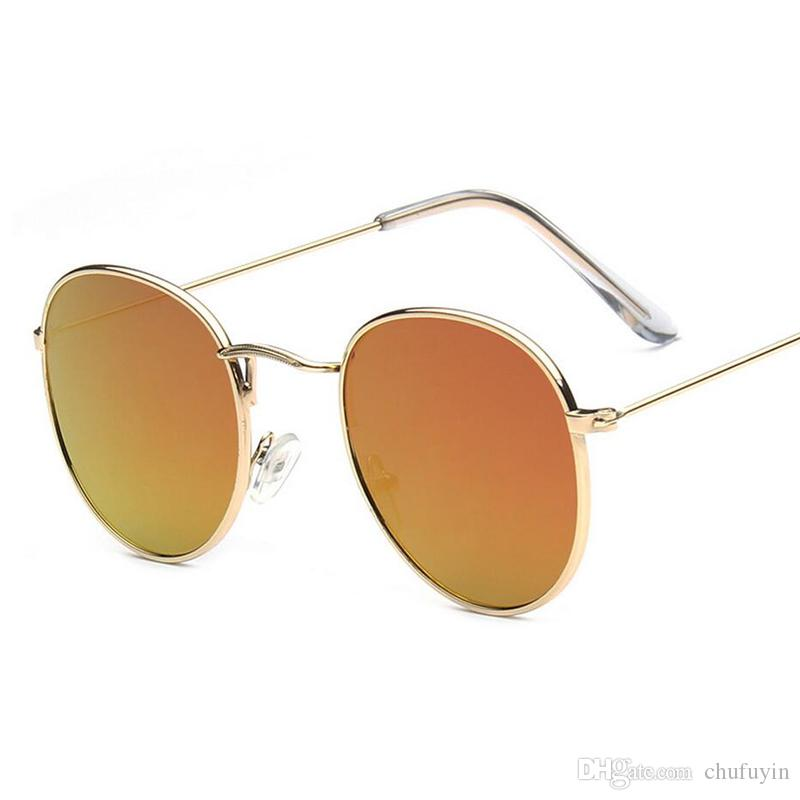 Compre 2018 Retro Mulher Óculos De Sol Redondos Óculos De Sol Colorido  Lente De Metal Quadro Óculos De Verão Estilo Feminino Óculos De Sol B3447  De Chufuyin ... 3c7ac2920e