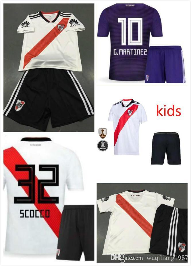 5565be663cc best quality!!2019 Kids Kit River Plate Home White Football Jerseys 2018 19  Home Boy Soccer Jerseys River Plate Child Soccer Shirts+pants. Sports Sales