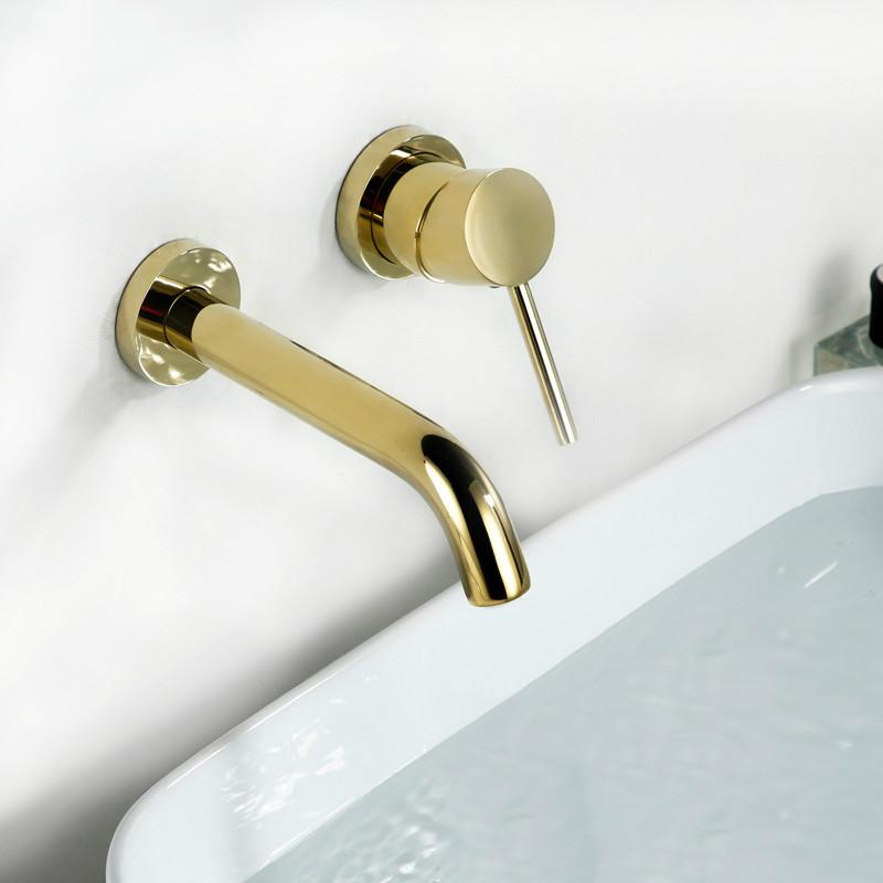 2019 Gold Color Simple Wall Mounted Bathroom Faucet 100 Solid Brass