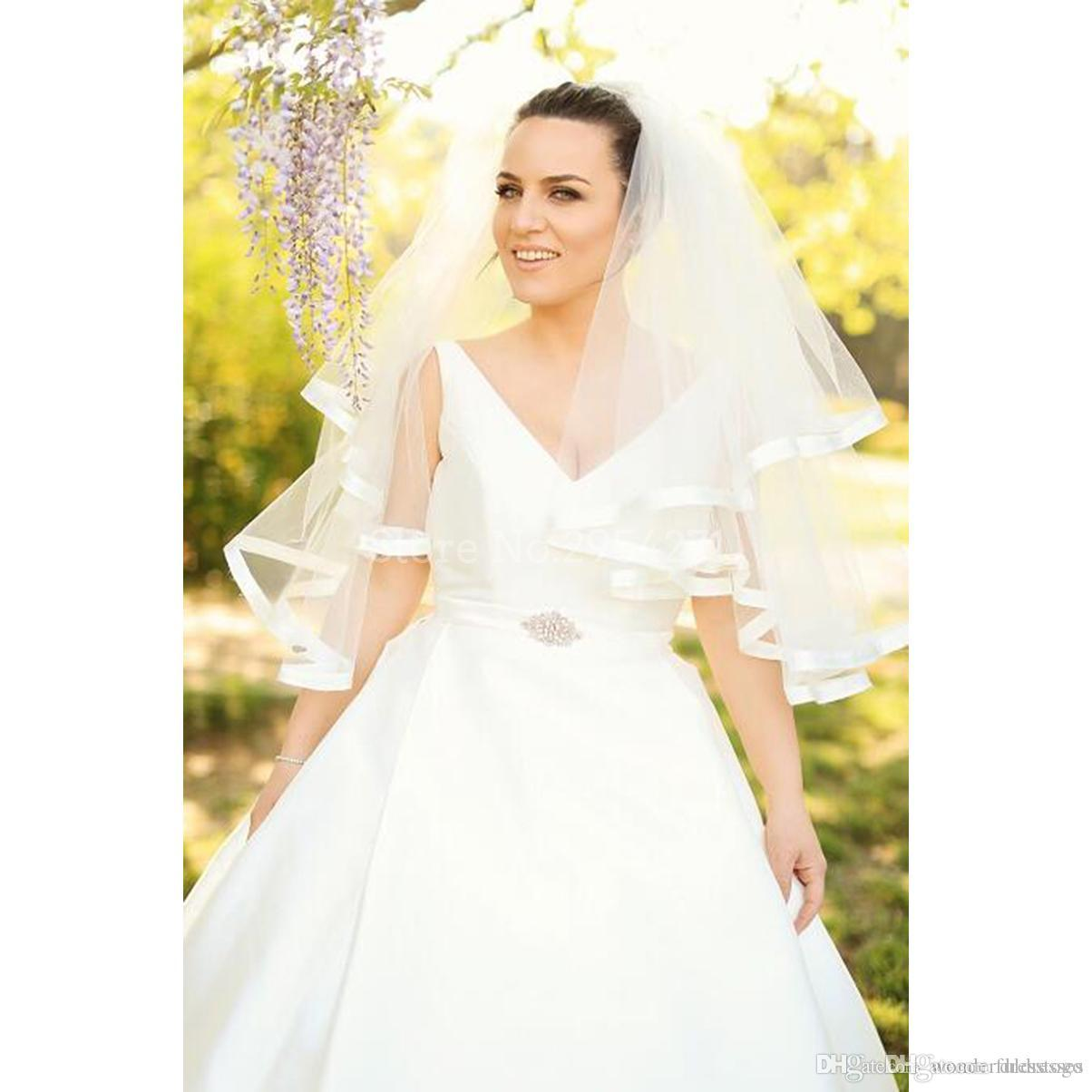 Discount Simple Style Satin Wedding Dress A Line Lace Button Back V