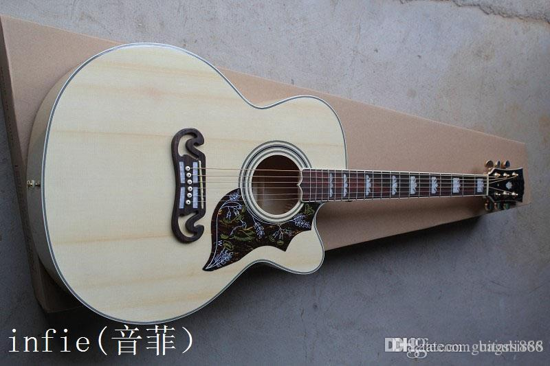 Free shipping Top quality Solid spruce Top J-185EC Acoustic Guitar natural wooden acoustic guitar