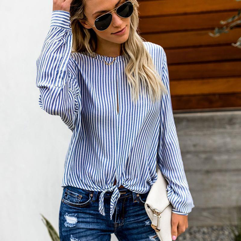 95b595d4d3 2019 Spring Autumn Long Sleeved Striped Shirts Womens Fashion Bow Tie Casual  Loose Blouse 2019 Style Stripe Tops WS9121U From Jamie13, $30.61 |  DHgate.Com