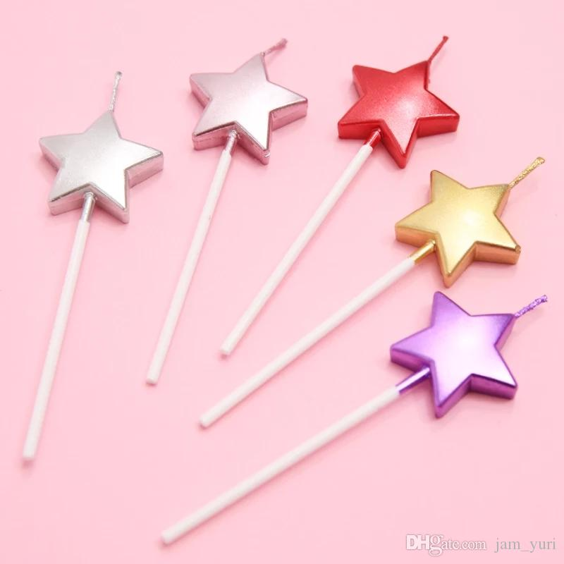Love Star Flame Sparkle Birthday Cake Party Creative Candle Colored Smoke Free Decoration Home Garden Festive Supplies Luxury