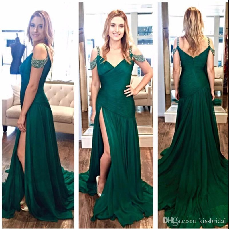 Off The Shoulder Emerald Green Prom Dresses Long Mermaid V Neck High Split Formal  Evening Gowns 2019 Chiffon Party Gown Sweet 16 Dress Xscape Prom Dresses ... c0b2a723d149