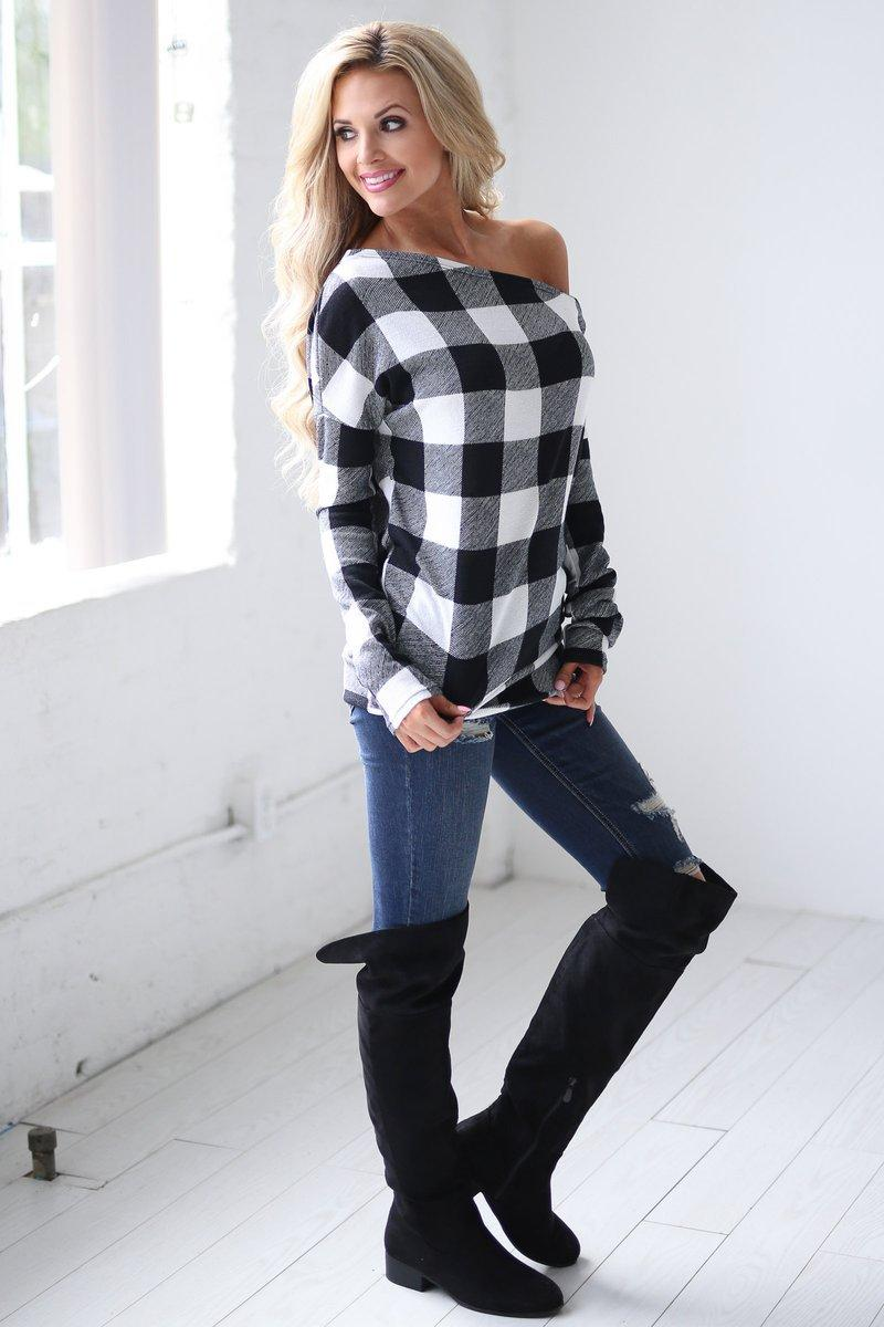 7cf2e51f04c909 Women Off Shoulder Plaid Tops Long Sleeve Shirt Casual Blouse Loose T Shirt  Red Buffalo Checkered Shirts OOA4146 Of T Shirts Online Buy T Shirts From  Pakis