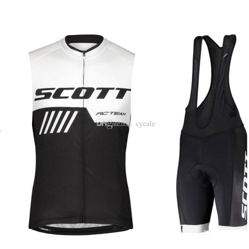 2019 SCOTT Summer Pro Team Men Cycling Jersey Sleeveless Vest Set Maillot Bib Shorts Bicycle Clothes Quick Dry Shirt Clothing Suit