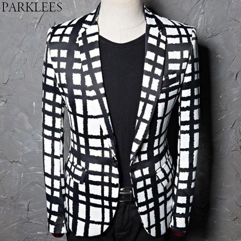 c6af3b157653 2019 Black White Plaid Print Blazer Jacket Men Casual Slim Fit Male Wedding  Dress Suit Coats Singer DJ Party Bar Check Costumes Terno From Brandoutfit,  ...