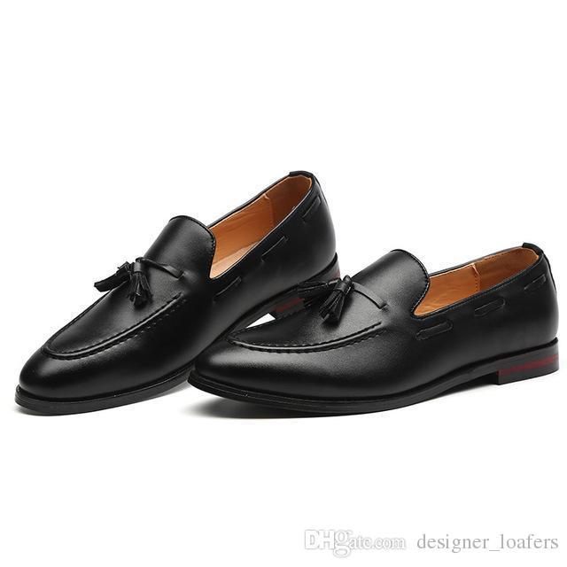 f5699b74 Compre 2018 Diseñador Hombre Holgazanes Bullock Zapatos De Vestir De Cuero  De Los Hombres Zapatos Casuales Clásico Hombres De Negocios Slip On Oxfords  Moda ...