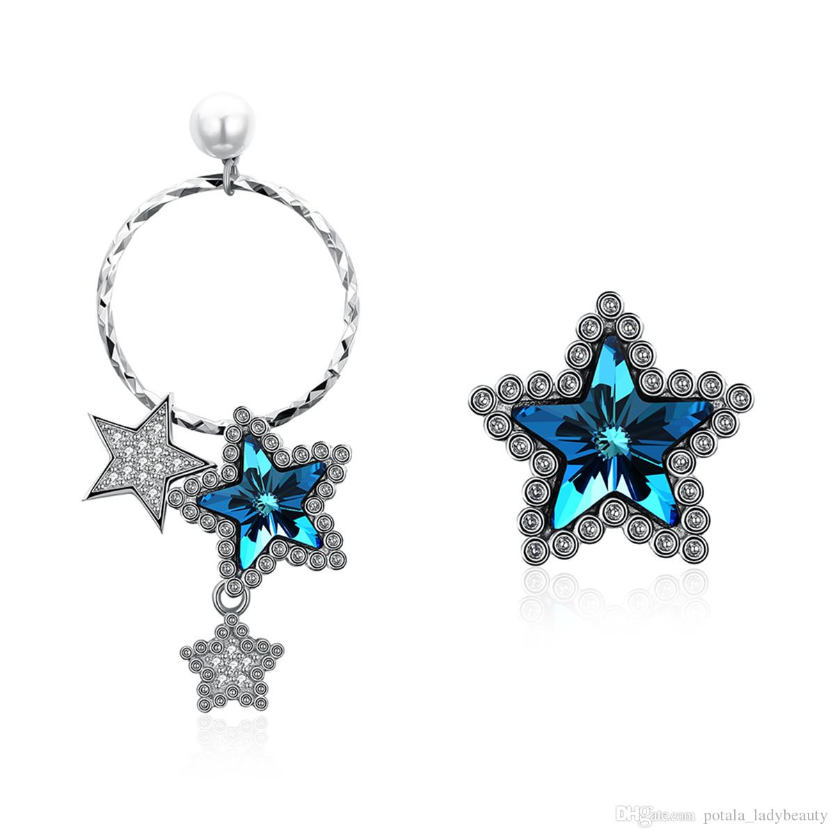 Irregular Star Dangle&Chandelier Earrings Crystal From Swarovski Elements Asymmetrical Starring S925 Sterling Silver Earring Party POTALA164
