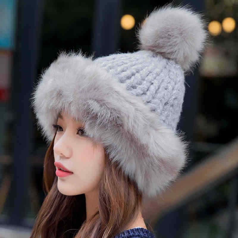 9070fda6e89af 2019 Winter Ski Hat Faux Fur Knitted Thick Warm Hat Lady Ski Caps Pompom  Fluffy Cap From Booni