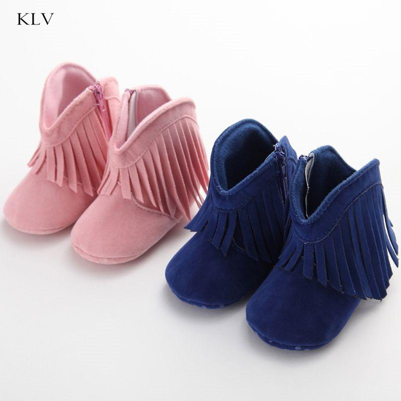 New Children's With Sole Soft Sole Anti-slip Boots Booties Boots Baby Girl's Boy Children Solid Fringe Shoes