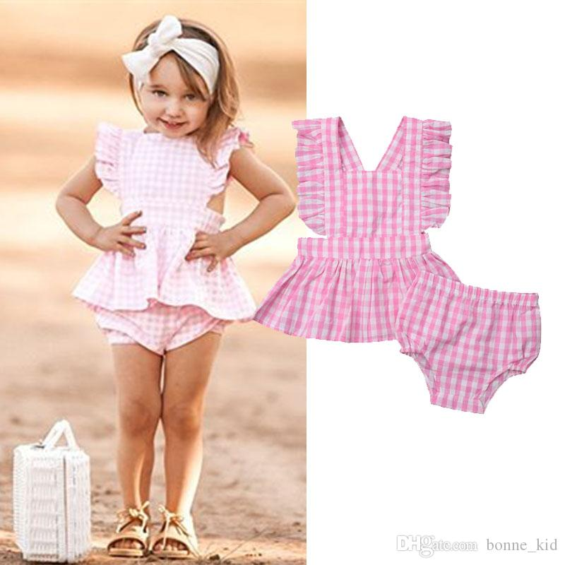 4d2faf2e1 Brand New Infant Kids Baby Girls Ruffles Plaid Pink T-Shirts Tops+Cotton PP  Shorts 2PCS Sets Summer Casual Kid Girl Clothes 1-6Y